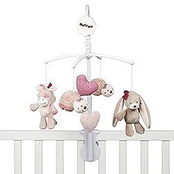 Nattou Mobile mit Musik für Babybett, Mädchen, rosa - Nina, Jade und Lili