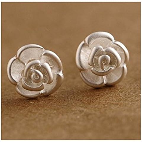 Plata de ley 925en forma de caja de regalo romántico Lovely Rose Flor Stud Pendientes para las mujeres de regalo de Studs mujer Mamá niña