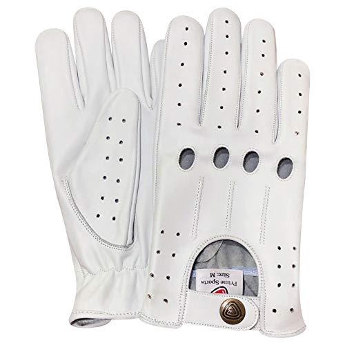 Leder Fahrer Handschuhe (Prime - Leder Herren Klassische Fahrer Handschuhe Chauffeure Modische Motorrad Handschuhe 4 Löcher Stil - Acryl, XL, Weiß)