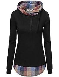 MEIbax Sudaderas Mujer Capucha Mujeres con Capucha Plaid con Camisa de Cuello Diagonal y Blusa Tops