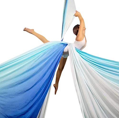 E-Bestar Yoga DIY Silk Pilates Aerial Silks Equipment Aerial Yoga Tuch Aerial Silk elastische Yoga Hängematte NUR Stoff KEIN Zubehör 10 Meter (Farbverlauf-D)