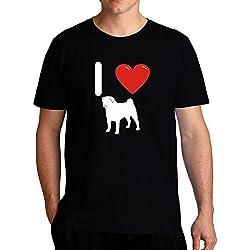 Eddany I love Pug Silhouette Camiseta
