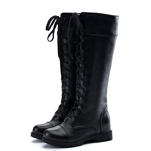 AgooLar Damen Rund Zehe Blend-Materialien Stiefel Schwarz