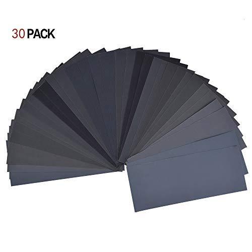 Vi-GO,Schleifpapier,120 bis 3000 Körnung Schleifpapier-Sortiment trocken/nass für automatisiertes Schleifen Holzbearbeitung und Holzdrehen, 9 x 3,6 Zoll.(30Pack) - Vigo 30