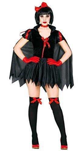 Damen Sexy Schwarz Dunkel Schneewittchen Halloween Märchen Kostüm Kleid Outfit UK 8-18 - Schwarz, 12-14
