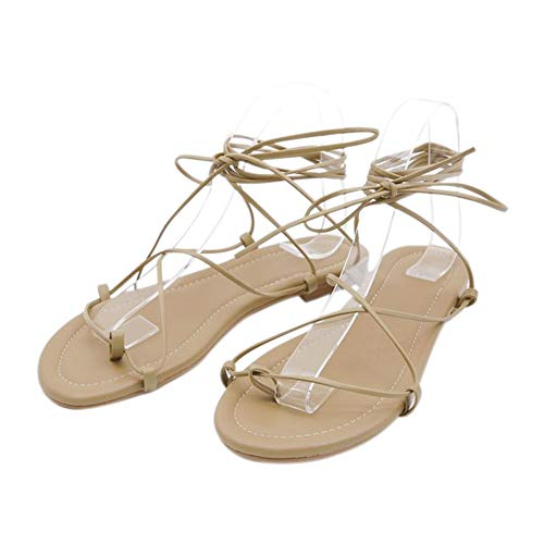 Xinvivion Damen Sandalen, Sommer Knöchelriemen Niedrige Ferse Riemchen Clip Toe Licht Wearable Komfortable Flache Schuhe -