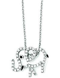 Broche de plata de ley con circonitas de elefante esmalte 45,72 cm collar con colgante en forma - 45,72 cm - JewelryWeb