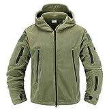 Memoryee Antivento Giacca in Pile da Uomo Outdoor Militare Caldo Cappotto per Lo Sport, Il Lavoro e Il Tempo Libero/Verde/XL
