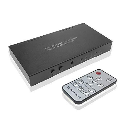 ADWITS HDMI 4X1 Quad-Bildschirm Multi-Viewer Splitter Nahtlose Switcher mit 5 Display-Modi IR-Fernbedienung, Unterstützung 1080P / 60Hz, 3D, Echtzeit-Multi-Winkel-Video Mode-quad