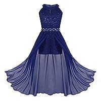 Freebily Junior Girls Sleeveless Halter-Neck Shimmer Mesh Wedding Bridesmaid Party Prom Dress Dance Ball Gown Rhinestone Blue 11-12 Years