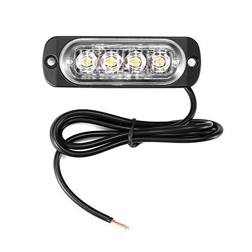 Feux D'avertissement de Voiture, 4LEDs Strobe Warning Light 12-24 V Urgence Lights Universal Clignotant Lumières Pour Voiture Véhicule Remorque Caravane (jaune)