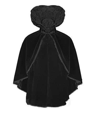 Victorian Samt (Dark Dreams Gothic Steampunk Neo Victorian Cape Umhang Samt Junalie Punk Rave 34 36 38 40 42 44, Größe:S/M)
