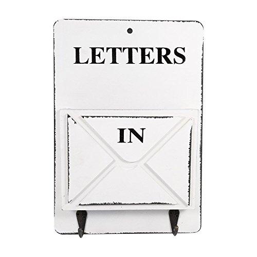 Briefkasten Buchstabe Rack Wand montiert Mail Sortiermaschine Aufbewahrungsbox Schlüssel Haken stehend Holder Organizer Flur Eingang holt Hängekorb Vintage Home Dekoration weiß (Schlüssel Und Rack Mail Wandhalterung)