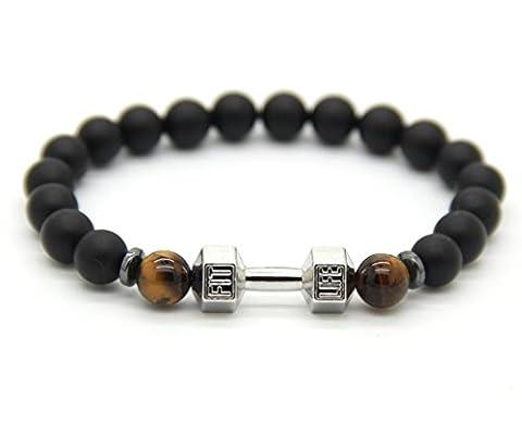 GOOD.designs Fitness Bead Bracelet made of natural black onyx stone, dumbbell pendant in black (Silver)