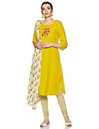 Amazon Brand - Tavasya Women's Straight Kurta with Dupatta