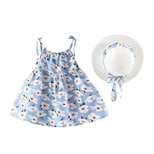 SUNFANY Schöne Kleider für Mädchen Sommer Ärmellos Blume Festliches Kostüm Kleiden Prinzessin + Strohhut Gr. 12M-3Y(Hellblau,100/18-24 Monate)