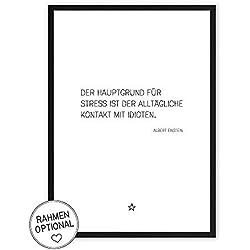 Grund für Stress: Idioten - Kunstdruck auf wunderbarem Hahnemühle Papier DIN A4 -ohne Rahmen- schwarz-weißes Bild Poster zur Deko im Büro/Wohnung / als Geschenk Mitbringsel zum Geburtstag etc.