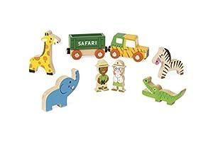 Janod Mini Story set de Figuras de madera, Safari (J08518)