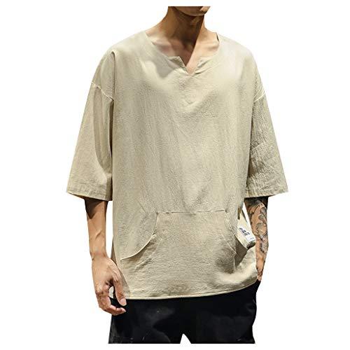 TAMALLU Herren Hemden Modische Casual Einfarbig Männer Tee Baumwolle Leinen Tasche Tops(Khaki,XL)