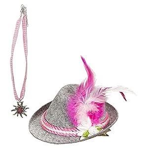WIDMANN 00109 Bayerin - Set de minisombrero y cadena para mujer, color rosa, talla única