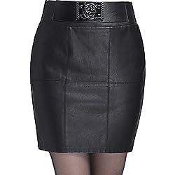 Helan Mujeres El diseno especial de la alta cintura delgada de la PU de cuero faldas cortas
