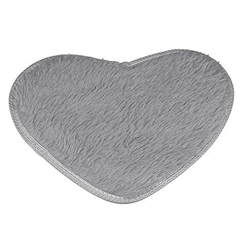 Xshuai Heißer Verkaufs-gute Qualität 40 * 28cm rutschfeste Badematten-Küche Badezimmer-Ausgangsdekor Herzförmige Teppichmatten (Beige rosa purpurroter roter grüner blauer grauer Kaffee-Schwarzes) (grau)