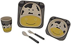 WonderKart Eco Friendly bamboo Kids Picnic Set ( Sqaure Dinner Plate , Square Bowl And tumbler With Spoon And Fork) - Black Yellow