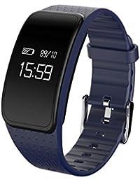 Rastreador de fitness multifunción elegante pulsera, Podómetro Ritmo cardíaco y monitor de sueño Led Impermeable Llame y masaje recordatorio, Pulsera de bluetooth-D