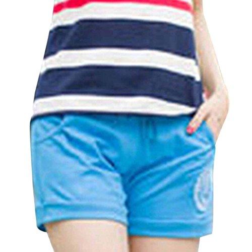 QIYUN.Z Femmes Occasionnels Pantalons Courts Bonbons Taille Des Sports De Glisse De Cordon Plage De Surf Short Bleu