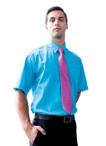 Easy Care Kurzarm Popeline Hemd mit Brusttasche Red