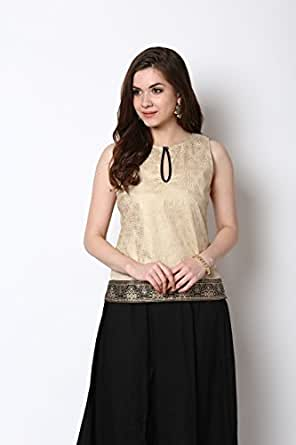 Bhama Women's Golden Colour Short Kurti With Black Border