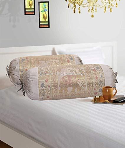 Stylo Culture Elefante Cilíndrica Fundas De Almohadas 70x40 Ronda Decorativa Fundas para Cojines Bolster Covers Gris Brocado Jacquard Polidupion Étnica Largo For Settee (Set of 2)