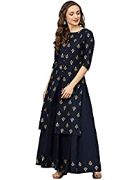 Radhika Fashion Women's Rayon Printed Kurta Palazzo Set