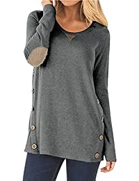 6b14d921605 NICIAS Womens Side Buttons Long Sleeve Casual Crew Neck Elbow Patched Sweatshirt  Loose T Shirt Blouses