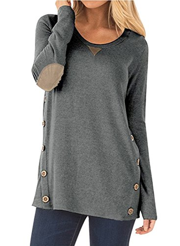 NICIAS Mujeres Botones en Ambos Lados Manga Larga Casual Cuello Redondo Parche en el Codo Camisa de Entrenamiento Camiseta de Suelta Blusas Chaqueta de Túnica(Gris Oscuro, S)