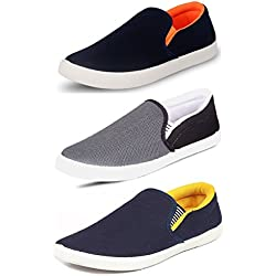Tempo Men's Multicolor Synthetic Combo Of 3 Loafers- 7