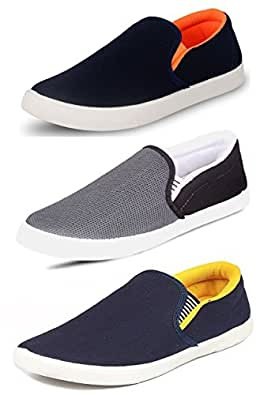 Tempo Men's Multicolour Synthetic Loafers Shoes - 6 (Combo Pack of 3)