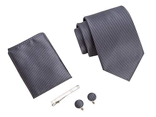 Herren Krawatten set mit ManschettenKnöpfe, Einstecktuch und Krawattennadel Geschenkbox (Grau Gestreift)