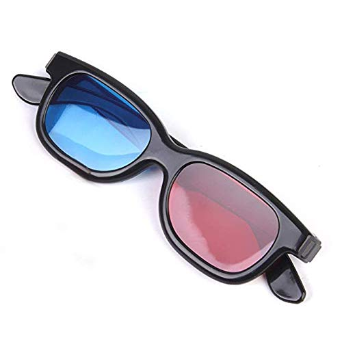 Jutek Single Pair Adult Plastics Red/Blue 3D Glasses ,Black for Home TV & Movie Theater (Pack of 1)
