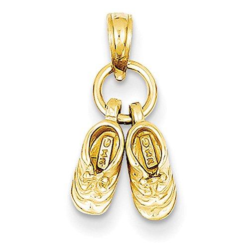 Lex & LU 14K Gelb Gold Baby Schuhe Charme (Baby-schuh-charme)