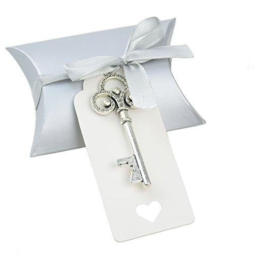 Makhry, confezione per bomboniera a forma di cuscino, set da 50 pezzi, con apri-bottiglia a forma di chiave vintage, etichetta per ringraziamenti e nastro per fare fiocchi silver