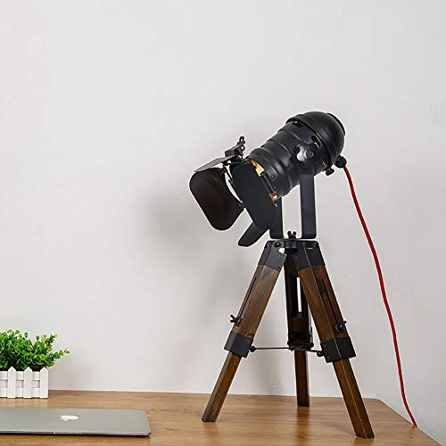 Vintage Adjustable Cinema Table Lamp-Nautical Black Retro Style Black Tripod Spotlights Searchlights Wooden Tripod Floor Floor Lamp Cinema Movie Props E27*1 -