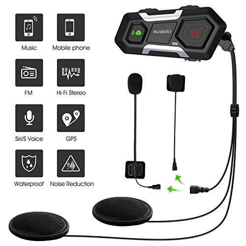 SUAOKI Auriculares Intercomunicador Moto, Bluetooth 3.0, gama de 1200m, IPX6, Admite hasta 3 comunicadores de llamada grupal, Motocicleta, Ski ATV (Impermeable IPX6, 2 Auriculares incluidas)