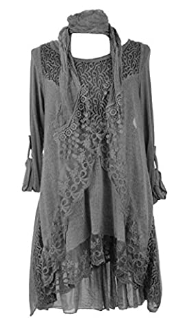 TEXTURE ONLINE Ladies Womens Italian Lagenlook Quirky SHORT 3 Piece Lace Knit Mohair Wool Long Sleeve Scarf Tunic Dress Curve One Size Plus UK 12-18 (One Size Plus, Dark Grey)