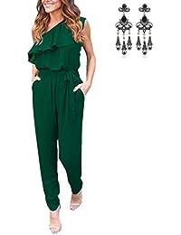 MODETREND Mujer Mono Jumpsuits Elegante One-hombro Bodysuit Verano Pantalones Largos para Fiesta Playa Beachwear y Clubwear