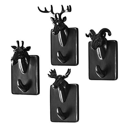Gu3Je Kreativ Tier Form Wandhaken Kleiderhaken - Mini Tierstilen, geeignet für Dekoration, Kleidung, Schlüssel, Taschenaufhängung Schwarzes Nashorn (Altes Mini-laternen)