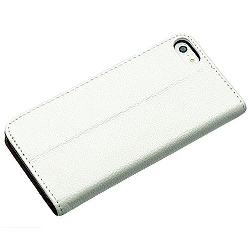 OBiDi - 100% Fait Main en Cuir Véritable de Chiquenaude / Housse pour Apple iPhone SE / Apple iPhone 5S / 5 - Blanc Blanc