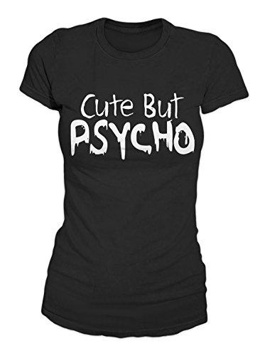 Cute But Psycho Komisch Sarcastic T-Shirt Damen Schwarz Medium (T-shirt Adult Mom)