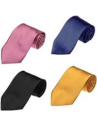 DAKE.01 Serie Feliz Multicolors Satin Plains Hombres 4 Pack Ties Set de Dan Smith