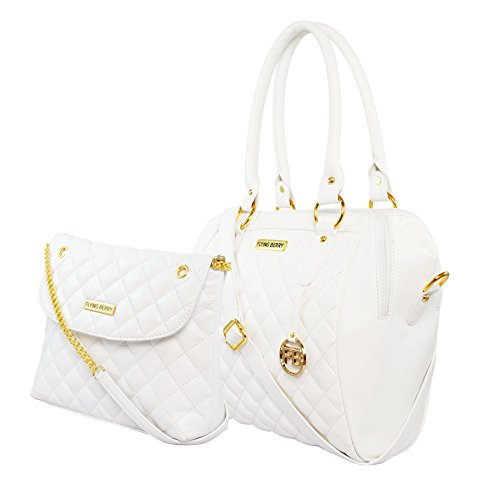 Flying berry Women's Hand bag COMBO PACK (PREMIUM EDITION) (WHITE(GOLDEN))